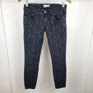Free People Rouched Textured Black Ankle Jeans